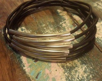 Black Leather Cord Bangles with Silver Metal Tubes, Set of 6 Bangles,