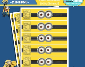 INSTANT DOWNLOAD ||Minions Collection|| [[ Water bottle labels 2x8]]