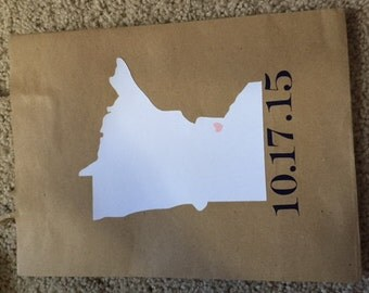 Wedding Welcome Gift Bags - State Shape