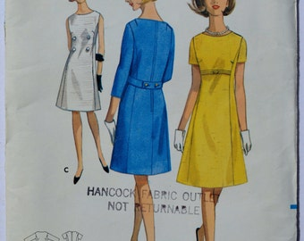 Vintage Butterick 4076 Women's  A-Line Dress 1960's