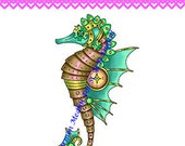 Nancy's Seahorse DIGITAL STAMP Download - Carmen Medlin Digital