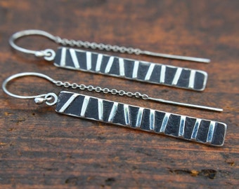 Long Raised Off-Set Striped Earrings / Modern Rectangle / Sterling Silver / Oxidized / Patina