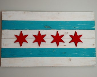 Handmade Chicago Flag - Vintage, Rustic, Chicago Flag Art, Home Decor, Wooden, Wall Art, Distressed, Chicago