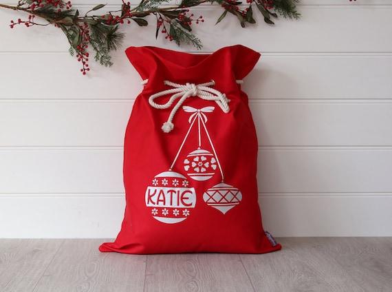 Personalised Santa Sack Red Christmas Baubles, Christmas Sack,Christmas Bag,Personalized Santa Sack,Kids Christmas Decoration,Red Christmas