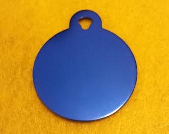 Pet ID Tags, Dog Tags, Cat Tags, Engraved Pet ID Tags, Large Blue Circle Tag