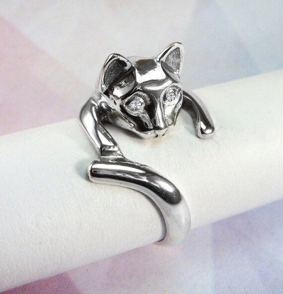 sterling silver rings cat ring womens rings by