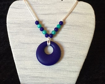 Necklace silicone/teething necklace - Navy