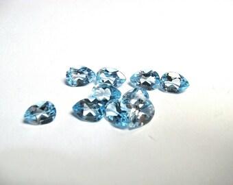 Sky Blue Topaz 7x5 pear shapes ..10 pieces per lot.