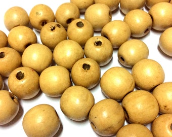 12 mm Light Brown Wood Beads - Hand Colored Wooden Beads -  20pcs