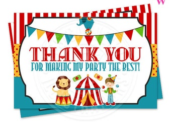 Fun Time Circus Printable Thank You, 4X6 Circus Party Thank You Note, Circus Party Printable Thank You, Circus Thank You Card