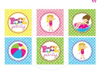 Girls Pool Party Printable Party Favor Tags, Cupcake Toppers, Square Printable Swim Party Favor Tags, 2 inch Tags, Pool Party Printable