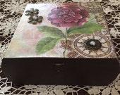 Repurposed box, treasure box, painted box, altered box, keepsake box, wooden box, decorative paper box, small storage box, picture box