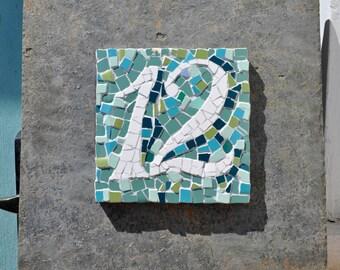bespoke mosaic house number on slate