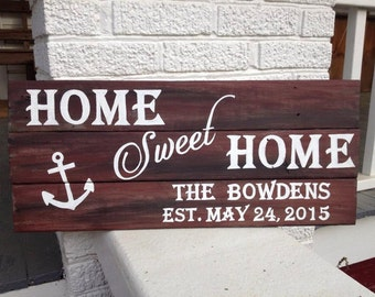 Home Sweet Home, personalized, hand painted, wood sign with name, date, and colors!