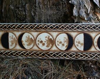Moon Phases Pyrography Woodburning