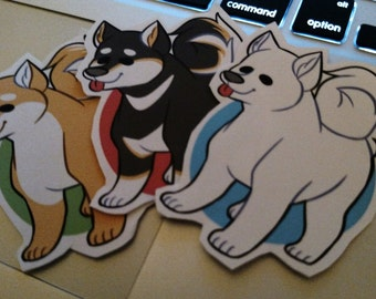 Set of 3 Shiba Inu Stickers!