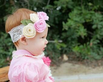 Valentine's Day Headband - Felt Rose Headband - Valentine's Rose Headband, Felt Rose Headband - Baby Girl Headband - Hair Accessories