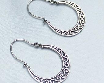 Sterling silver earrings, large sterling earrings, modernist earrings, silver earrings, large earrings