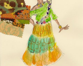 Asaka - Once On This Island Original Costume Rendering