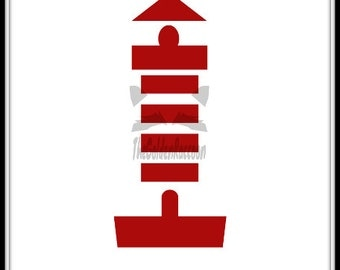 Red Minimalist Lighthouse