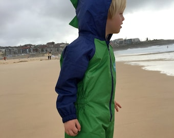 Dinosaur Splashsuit / Kid's All Weather Play Suit / Rain Suit for Toddlers to 5 Year Olds.