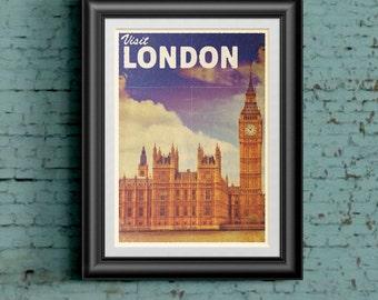 Vintage/Retro Travel Poster London - Visit London. Collect the set!