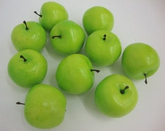 Faux Fruit. Lifelike Mini Green Apples, Fake Display Home Decor. 12 Pieces