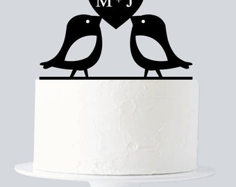 Love Birds Cake Topper, Custom First Name Initial A636