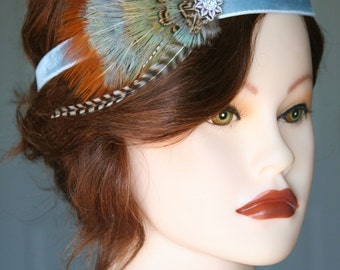 Elegant Feather Fascinator on Velvet Headband