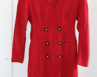 Vintage 80s Red Coat Dress by Ann Tjian for Kenar 2 Double Breasted Classy Buttons Size 6