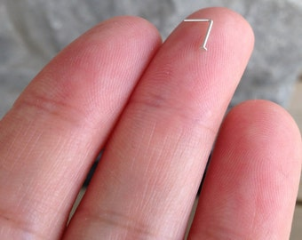 24 Gauge Silver / Thin Sterling Silver Nose Stud,L Shape Nose Stud,Sterling Silver Flat Head Stud.