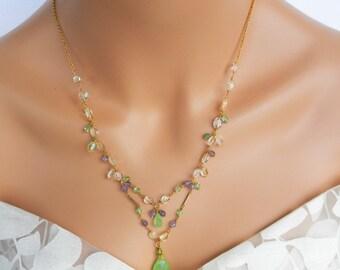 Multi Stone Necklace - Amethyst - Citrine - Jade -  Necklace