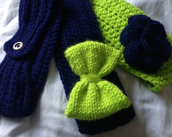 Ear Warmer, Team Colors Ear Warmer, Team Spirit, Seahawks Ear Warmer, Pick your colors, Infant, Child, and Adult