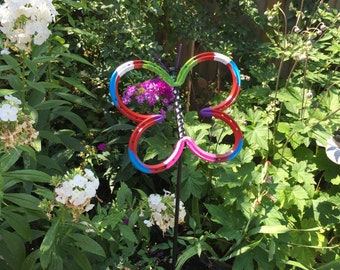 Horseshoe Butterflies - Beautiful Yard Art (With Metal Post for Anchoring)