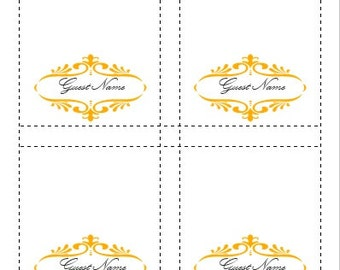Place Card Template Goldenrod Yellow