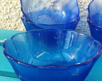 Set of 6 Vintage Clear Blue Floral Mini Bowls