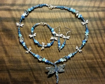 On Sale! Blue Dragonfly Jewelry Set