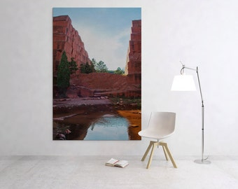 Canvas wall art – Colorado fine art photography – Red rock reflection – Vertical nature photography – Southwestern photo – Tall wall art