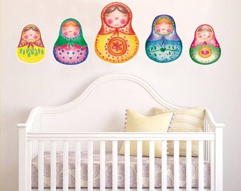 Nesting doll, Matryoshka Doll, Babushka, Kids wall decal, girl gift, baby shower gift, Russian nesting doll, Peel and stick, nursery decal