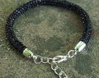 Black Sparkly Knitted Bracelet
