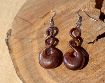 Bali Rosewood Energy Flow Earrings // Cycle of Universe // Hand made Indonesia // Meditation // Nadi Prana flow// Gift for her