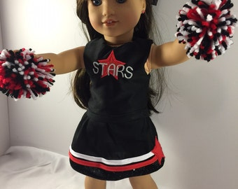 """18 Inch Doll Clothes, Clothes For Dolls, Doll Cheer Outfit, Custom Doll Clothes, Custom Cheer Outfit, Clothes For 18"""" Dolls"""