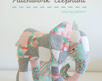 Patchwork Elephant - PDF Sewing Pattern with Step-By-Step Photos and Instructions