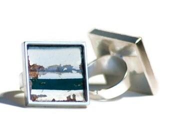 License Plate Ring Rustic Dark Green Stripe Weathered Adjustable