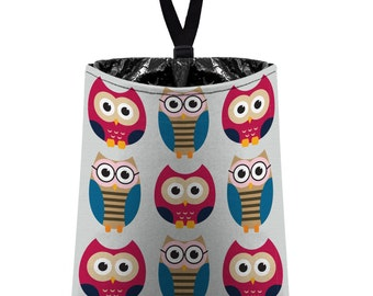 Car Trash Bag // Auto Trash Bag // Car Accessories // Car Litter Bag // Car Garbage Bag - Owls - Light Grey Pink Blue // Car Organizer