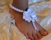 White Baby Barefoot Sandals - Sandal, Baby Shoes, Flower girl, Baptism, Christening, Take Home, Photos