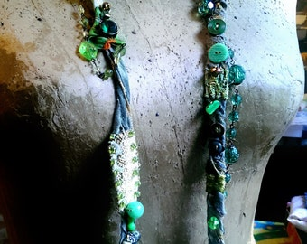 Necklace Forest Green Vintage Textile, Fibre, Beaded, Mother of Pearl, Metallic Embroidery, Shell, Bone, Boho Necklace, Long