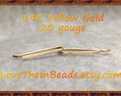 14K Gold Ear Crawler, Climber, Real Solid Yellow Gold 20 gauge Simple Mini Straight Line Bar Tiny Staple Stud Sleeper Earrings LoveThemBeads