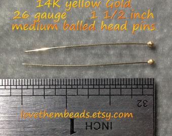 14K Yellow Gold Balled Headpins 26 gauge 1.5 inch long Medium Head, handmade decorative findings supplies DIY, real solid gold pins
