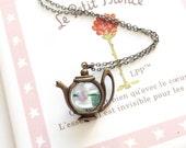 A Teapot of Rose Green Tea Antique Brass Necklace, Teapot Necklace, Green Tea Necklace, Afternoon Tea Necklace, Girlfriend Gift